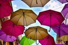 Umbrella Party. Thousands of Umbrella rain from blue sky in Iglesias, Sardinia (IT Royalty Free Stock Photo