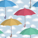 Umbrella  pattern. Cloudy sky pattern. Rainy weather. Umbrella seamless pattern. Cloudy sky tiling pattern. Rainy weather ornamental background Royalty Free Stock Images