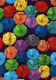 Umbrella pattern. Multicolor umbrellas on a dark blue background Stock Photography