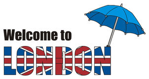 Umbrella peek up from letters. Blue umbrella with colored and black words welcome to London Stock Photo