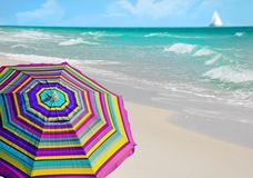 Umbrella by Pretty Beach Royalty Free Stock Image