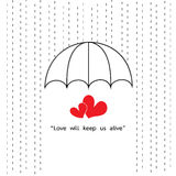 Umbrella protect rainy with two heart  quotes Royalty Free Stock Photos
