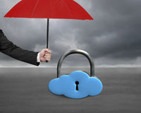 Umbrella protect sky blue cloud lock Stock Photography