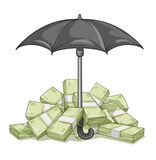 Umbrella protecting bundles with money Royalty Free Stock Photos
