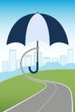 Umbrella protecting city Stock Images