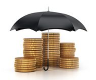 Umbrella protecting gold coins stack. 3D illustration.  Stock Image