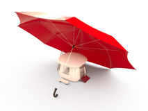 Umbrella protecting house, 3D Royalty Free Stock Image