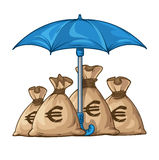 Umbrella protecting sacks with money currency dollar Royalty Free Stock Image