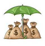 Umbrella protecting sacks with money currency euro Stock Images