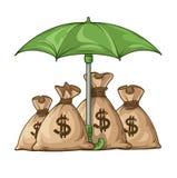 Umbrella protecting sacks with money currency euro. Eps10  illustration. Isolated on white background Stock Images