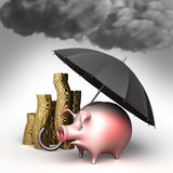 Umbrella protects piggy bank,  against bad weather. Guard against crisis. Umbrella helps protect piggy bank and money against the bad weather. Guard against Royalty Free Stock Photography
