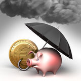 Umbrella protects piggy bank,  from bad weather. Finance illustration Royalty Free Stock Photo