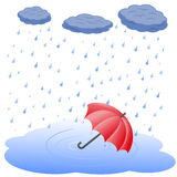 Umbrella in puddle in rain Royalty Free Stock Image