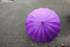 Umbrella purple on road and rain drop with copy space for add text.  Royalty Free Stock Photo