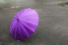 Umbrella purple on road and rain drop with copy space for add text.  Stock Image