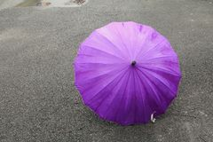 Umbrella purple on road and rain drop with copy space for add text.  Royalty Free Stock Photography