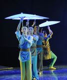 The umbrella of the queue-The dance drama The legend of the Condor Heroes. In December 2, 2014, a large Chinese dance drama the legend of the Condor Heroes for Royalty Free Stock Photo
