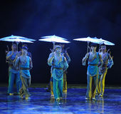 Umbrella queue -The dance drama The legend of the Condor Heroes Stock Photo