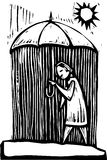 Umbrella Rain. Rain falls on the inside of this woodcut style umbrella Stock Image
