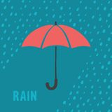 Umbrella and rain background Stock Images