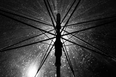 Umbrella and rain in black and white background Royalty Free Stock Image