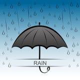 Umbrella and rain. Dark umbrella and rain background Stock Images