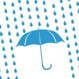 Umbrella and rain drops. Blue umbrella and rain drops Stock Images