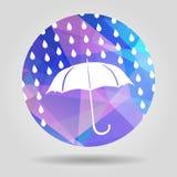 Umbrella and rain drops on the Abstract geometric circular shape Royalty Free Stock Photography