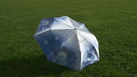 Umbrella with rain drops dries on grass. Blue umbrella with rain drops is drying on a field of green grass stock video