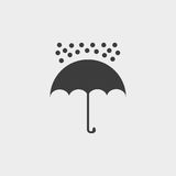 Umbrella and rain drops icon in a flat design in black color. Vector illustration eps10 Royalty Free Stock Photography