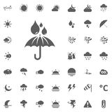 Umbrella and rain drops icon. Weather vector icons set Royalty Free Stock Photos