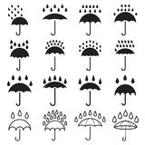 Umbrella and rain drops icons. Collection of 16 black pictograms isolated on a white background. Vector illustration Royalty Free Stock Photography