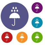 Umbrella and rain drops icons set Royalty Free Stock Photography