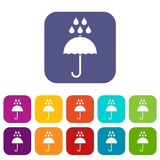 Umbrella and rain drops icons set Stock Photography