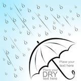 Dry text under umbrella. Dry text under wet umbrella Stock Images