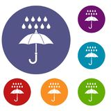 Umbrella and rain icons set Royalty Free Stock Photos