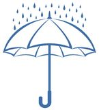 Umbrella and rain, pictogram stock illustration