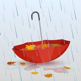 Umbrella in the rain, puddles of water and fallen yellow leaves. Vector illustration, design for poster, banner, icons. Autumn Stock Images