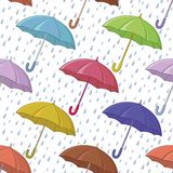 Umbrella and rain, seamless background Stock Image