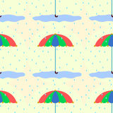 Umbrella in the rain seamless background design Royalty Free Stock Images