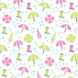 Umbrella and Rain Seamless Pattern Background. Vector illustration of seamless pattern background with umbrella, rain and rain boots Royalty Free Stock Photos