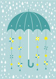 Umbrella in rain with suns and windmills Royalty Free Stock Photography