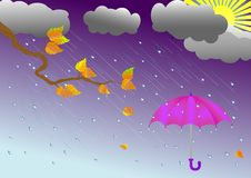 Umbrella in the rain. vector illustration. Stock Image