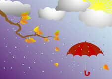 Umbrella in the rain. vector illustration. Royalty Free Stock Photos
