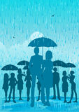 Umbrella in the rain Stock Photography