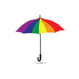Umbrella in rainbow colores. Summer beach party parasol icon. Umbrella in rainbow colores isolated over white background. Summer holiday parasol icon. Autumn royalty free stock images