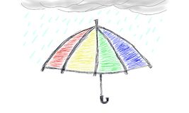 Umbrella. Rainbow umbrella under cloud and rain. hand draw version royalty free illustration