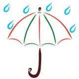 Umbrella and raindrops, do not wet.  Royalty Free Stock Image