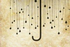 Umbrella with rainy drops painting Stock Photos