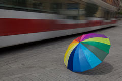 Umbrella with red tram Stock Photo
